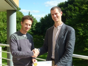Associate Dean Dr Simon Usherwood presenting me with my teaching award